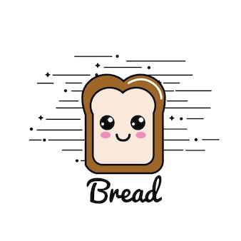 かわいい幸せ半分のパンアイコン