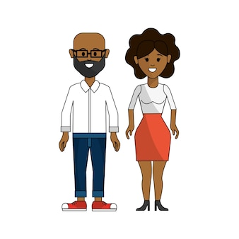 Темная кожа пара, мужчина в очках и женщина с короткими волосами