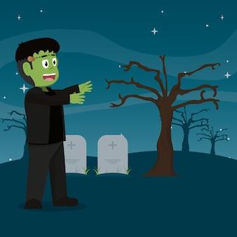 石造りの墓地のフランケンシュタイン怪獣