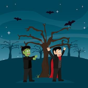 フランケンシュタインのモンスターと木とコウモリの揺れ