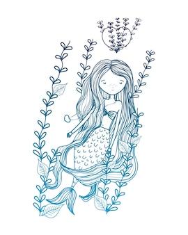Деградированная женщина-сирень с сердечками и ветвями растений