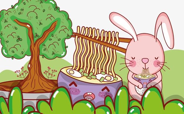 ウサギと日本食