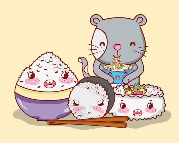 猫と日本食カワイイ