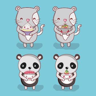 Кошки и панда с едой