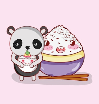 パンダと日本食