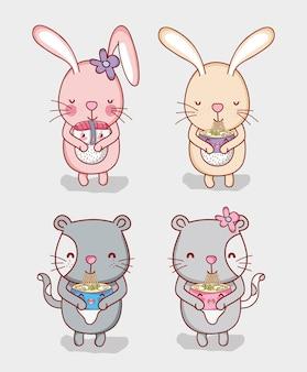 Кролики и кошки с едой