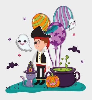 ハロウィーンの子供のお祝いの漫画