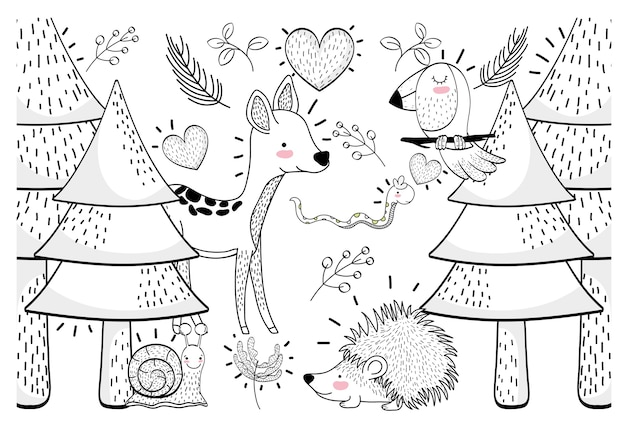 かわいい松の木と植物の動物