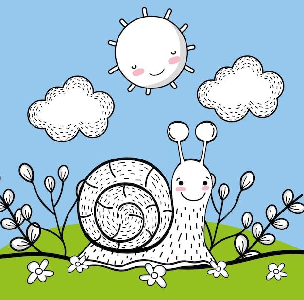 幸せな太陽と雲を持つカタツムリの動物