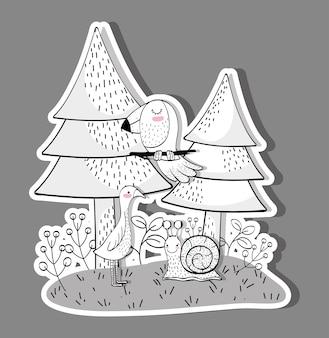 かわいい野生動物、松の木