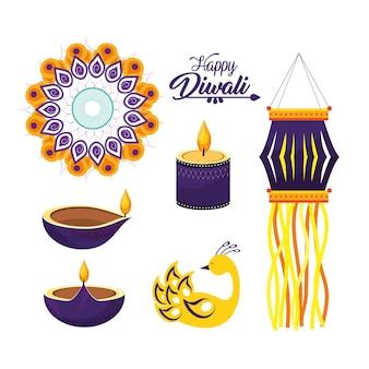ディワリ・ヒンズー教の祭の装飾文化を設定する