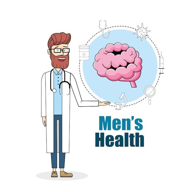 医者、聴診器、脳、治療、丸薬