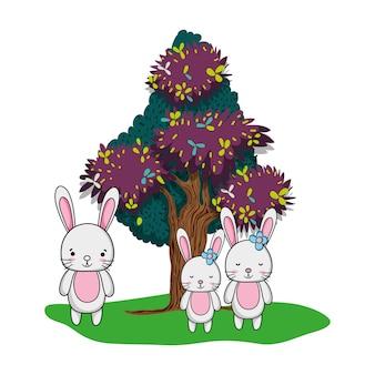 愛らしいウサギ家族動物と木