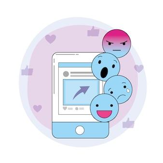 スマートフォンのウェブサイトと社会的な絵文字のメッセージ