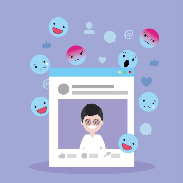 男のウェブサイトのソーシャルメディアと絵文字
