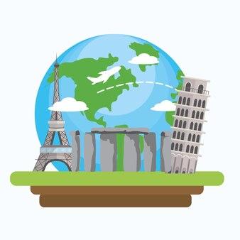 Путешествие глобальное исследование и веселый турист