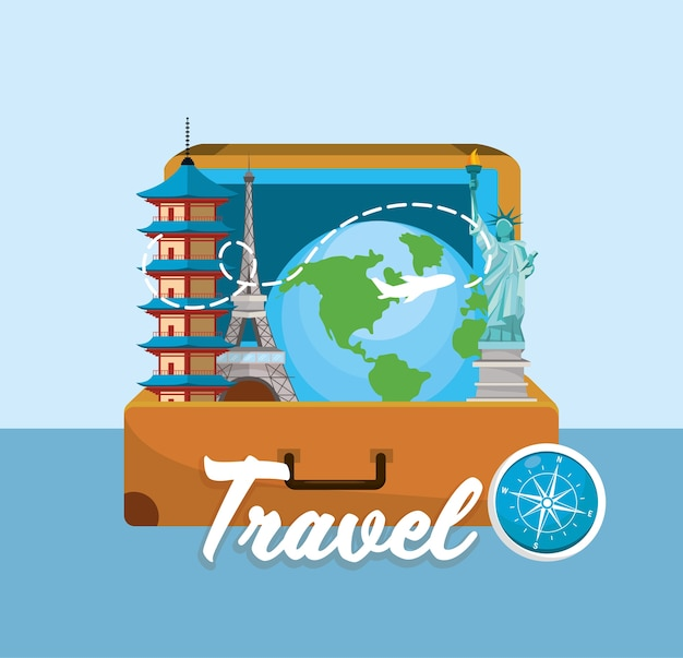 Туристический портфель с местом назначения по всему миру