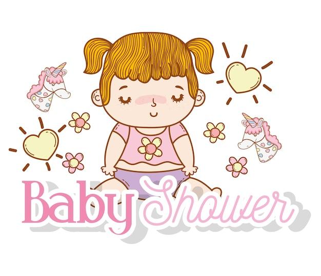 心と花の装飾と赤ちゃんの女の子