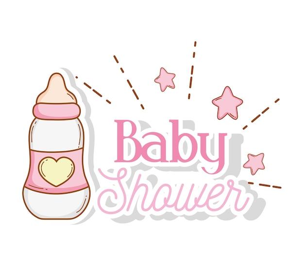 ベビーシャワーの装飾に星を哺乳瓶
