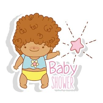 かわいい髪と星を持つ赤ちゃん