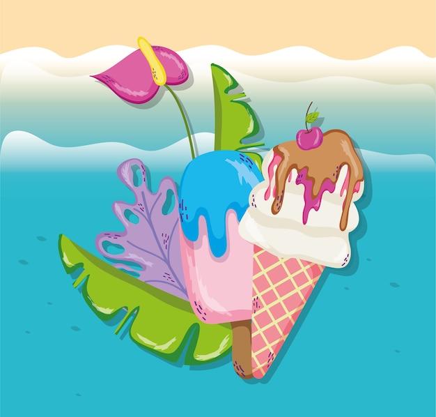 熱帯のビーチ風景のテーマ漫画