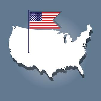フラグと地図を持つ独立記念日