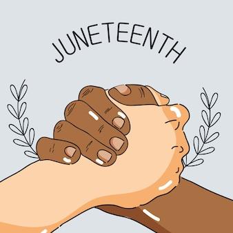 自由の日を祝うために手を一緒に