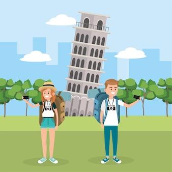 Женщина и мужчина путешествие в пизанской башне