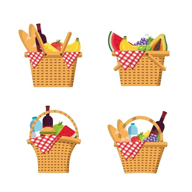 食べ物とテーブルクロスの装飾とバスケットを設定する