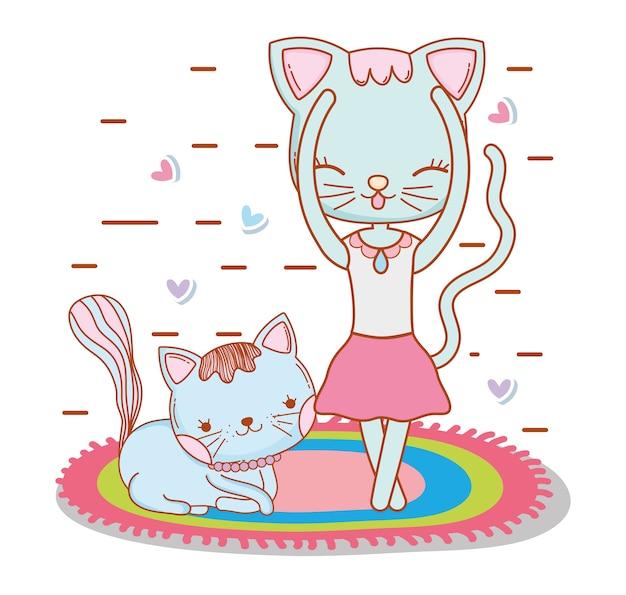 友人と絨毯で踊っている女性の猫
