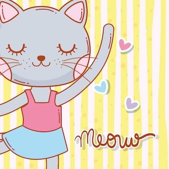 女性の猫動物の星と踊る