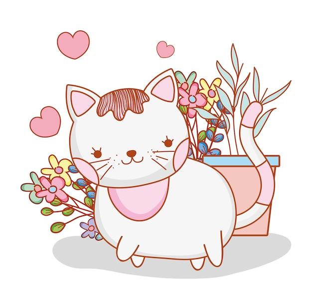 かわいい猫、植物と花の葉