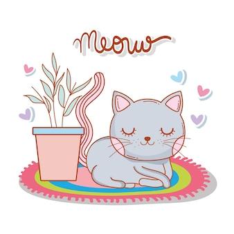 植物と心のラグのかわいい猫
