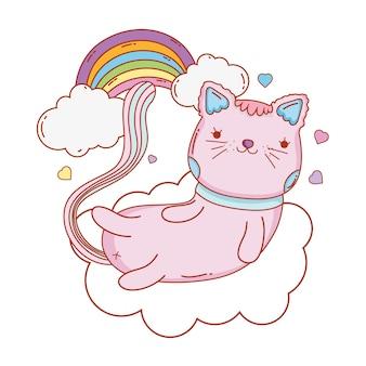 雲の中に虹と心を持つかわいい猫