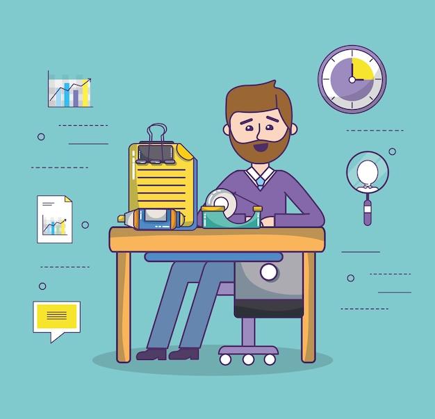 ビジネスオフィスの従業員の作業スペースの漫画