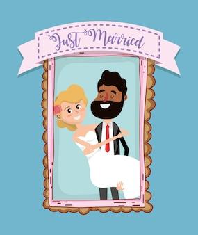 結婚式のカードデザインの漫画
