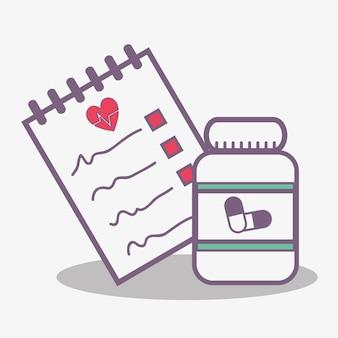 フラットラインの概念医療処方薬とジャー錠剤