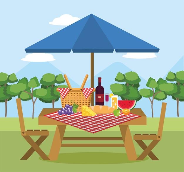 スイカの果物、テーブルに傘が付いたワイン