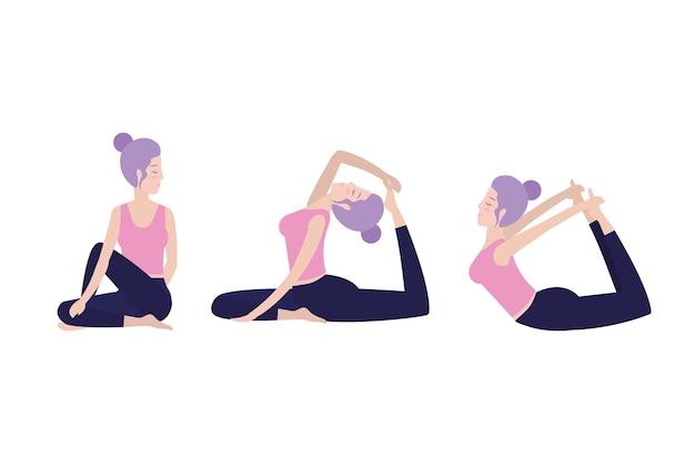 セット女性の練習健康的な運動