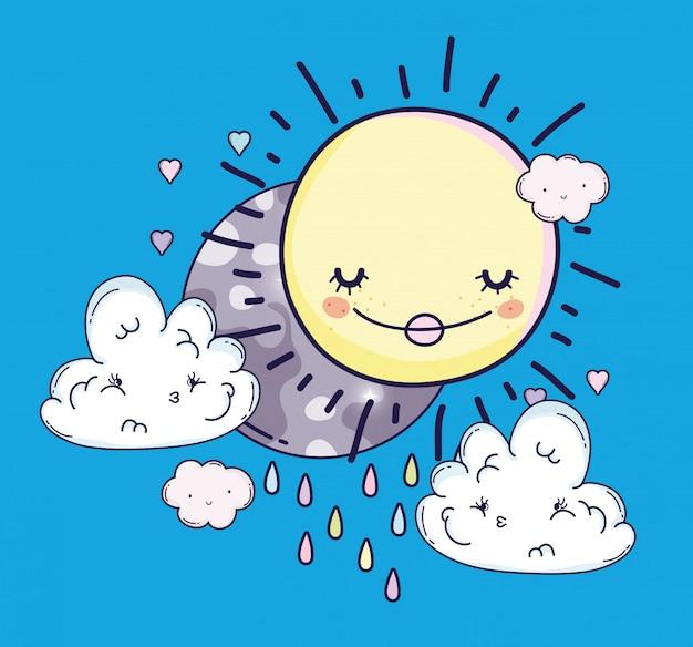 Счастливое солнце и луна с грустными облаками