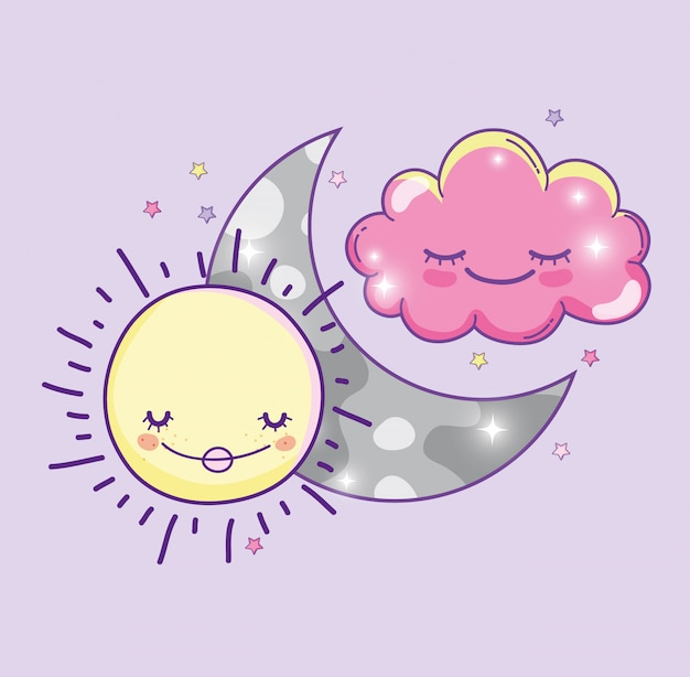 Счастливое солнце с луной и милым пушистым облаком
