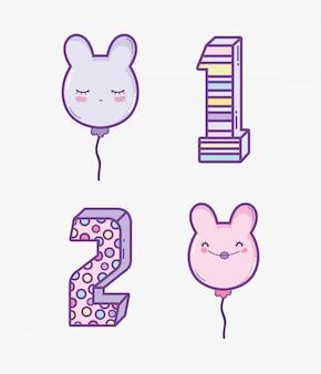 年を祝うために幸せな誕生日の装飾を設定する