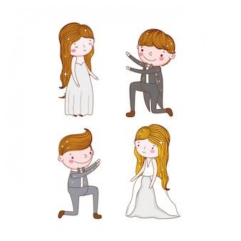 ガウンとスーツで男性と女性の結婚式を設定する