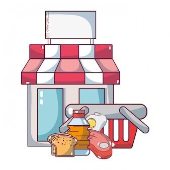 スーパーマーケット食料品の漫画