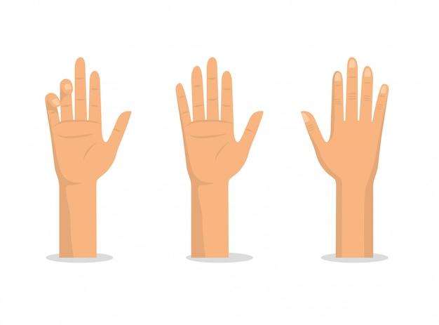 手のひらと指で手を合わせる