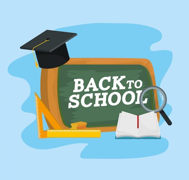 大学院の帽子とノートブックを備えた教育黒板