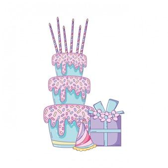 ギフトボックス付きの誕生日ケーキ