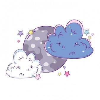 雲と月の可愛い漫画