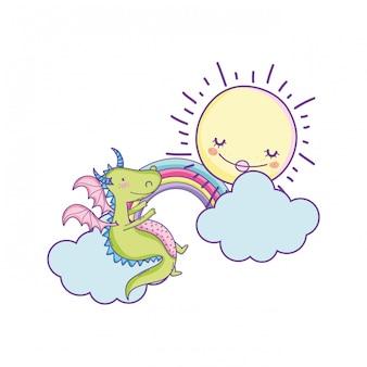 かわいいドラゴンの雲の漫画