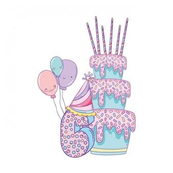 風船と数字の誕生日ケーキ
